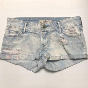 Hollister Light Denim Distressed Cuff Shorts